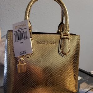 Michael Kors Adele Gold Messenger Bag